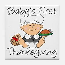 Baby Girl First Thanksgiving Tile Coaster