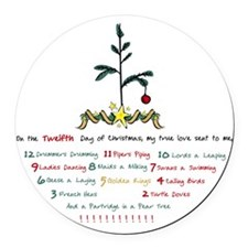 12 Days of Christmas Round Car Magnet