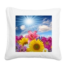 Flower Field Square Canvas Pillow