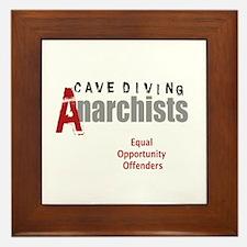 Cave Diving Anarchists (round) Framed Tile
