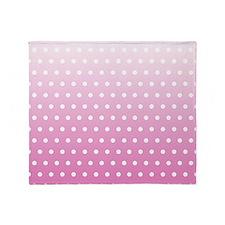 Pink White Polka Dot Throw Blanket