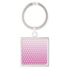 Pink White Polka Dot Square Keychain