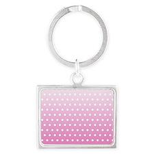 Pink White Polka Dot Landscape Keychain