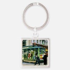 Vintage San Francisco Cable Car Square Keychain