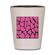 Giraffe Print in Pink and Black. Shot Glass