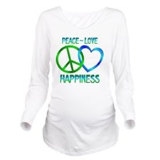 Peace Love Happiness Long Sleeve Maternity T-Shirt
