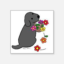 "Black Lab Puppy Flower Bask Square Sticker 3"" x 3"""