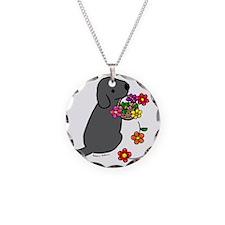 Black Lab Puppy Flower Baske Necklace