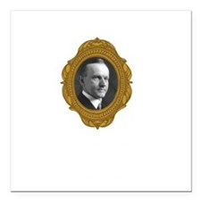 "Calvin Coolidge White Square Car Magnet 3"" x 3"""