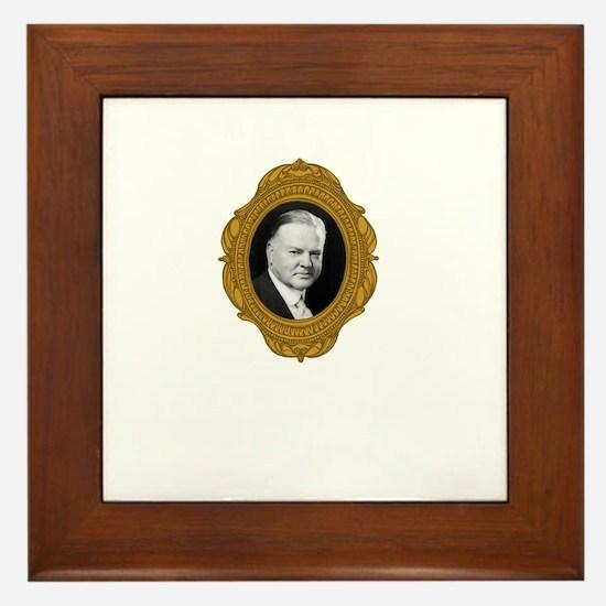 Herbert Hoover White Framed Tile