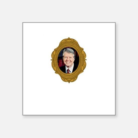 "Jimmy Carter White Square Sticker 3"" x 3"""