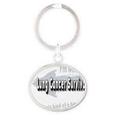 With female Lung Cancer Survivor on  Oval Keychain