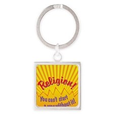 You Cant Start a War Square Keychain