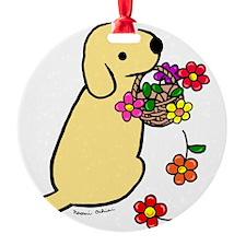 Yellow Lab Puppy Flower Basket Ornament