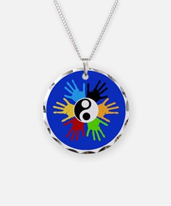 Hand Prints Ying Yang Colorf Necklace
