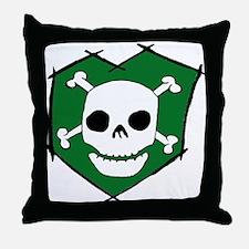 Skull & Crossbones Green Throw Pillow
