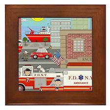 NYFD ACTION SCENE Framed Tile