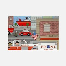 NYFD ACTION SCENE Rectangle Magnet