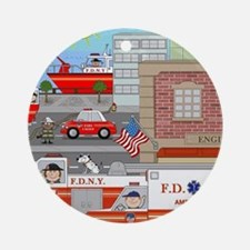 NYFD ACTION SCENE Round Ornament