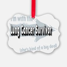 With female Lung Cancer Survivor  Ornament