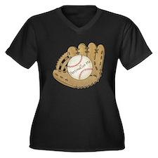 Custom Baseball Women's Plus Size V-Neck Dark T-Sh