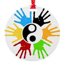Hand Prints Ying Yang Colorful Ornament