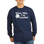Kiss Me I'm Canadian Long Sleeve Dark T-Shirt