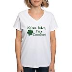 Kiss Me I'm Canadian Women's V-Neck T-Shirt