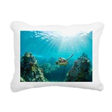 Sea turtle coral reef Rectangular Canvas Pillow