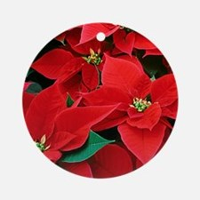 Christmas Poinsettias Ornament: Round