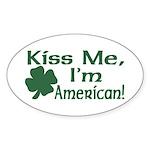 Kiss Me I'm American Oval Sticker