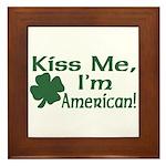 Kiss Me I'm American Framed Tile