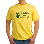 Kiss Me I'm American Yellow T-Shirt