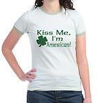Kiss Me I'm American Jr. Ringer T-Shirt