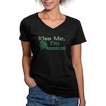 Kiss Me I'm American Women's V-Neck Dark T-Shirt