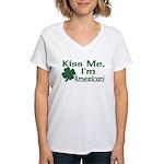 Kiss Me I'm American Women's V-Neck T-Shirt