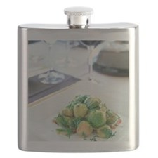 Table setting with bacon roasted brussel spr Flask
