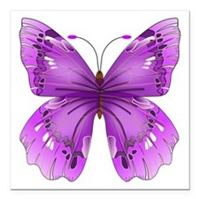 "Awareness Butterfly Square Car Magnet 3"" x 3"""