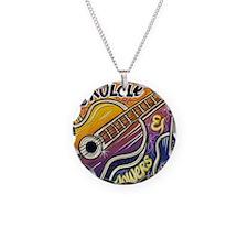 Happiness is My Ukulele Necklace Circle Charm