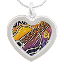 Happiness is My Ukulele Silver Heart Necklace