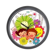 Friends amid variety of flowers Wall Clock