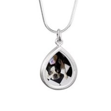 Dog wearing party hat Silver Teardrop Necklace