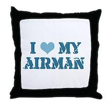 I ♥ my Airman Throw Pillow