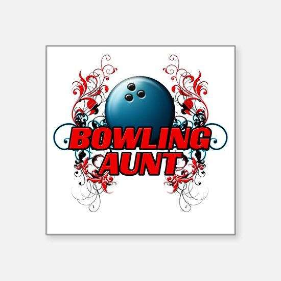 "Bowling Aunt (cross) Square Sticker 3"" x 3"""
