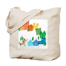 Row of colorful houses and a dog Tote Bag