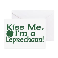 Kiss Me I'm a Leprechaun Greeting Cards (Package o