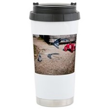 Pigeon and race car Travel Mug