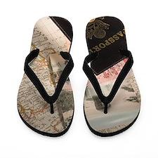 Still life of travel items Flip Flops