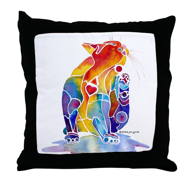 Throw Pillows Bright Colors : LOVE CAT Bright Colors Throw Pillow by whimzicals