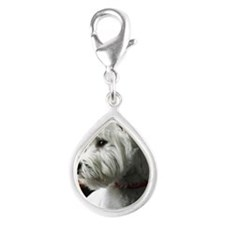 White Westie looking out th Silver Teardrop Charm